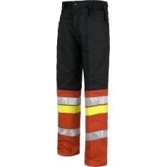 Pantalón cintura elástico, multibolsillos, combinado, con 3 cintas reflectantes.C8103