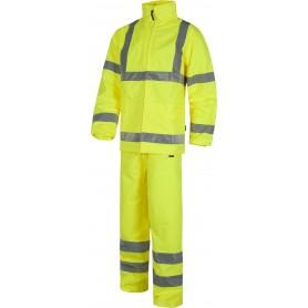 Conjunto de alta visibilidad de pantalón y chaqueta impermeables. EN471. EN343.S2010