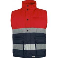 Chaleco acolchado rojo alta visibilidad bicolor con dos cintas reflectantes.S4037