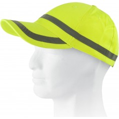 Gorra ajustable en alta visibilidad, diseño franja reflectante horizontal.WFA901