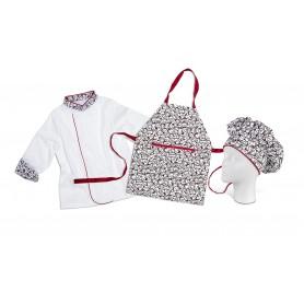 Casaca de cocina, delantal y gorro para niños. Set indivisible.WSK5001